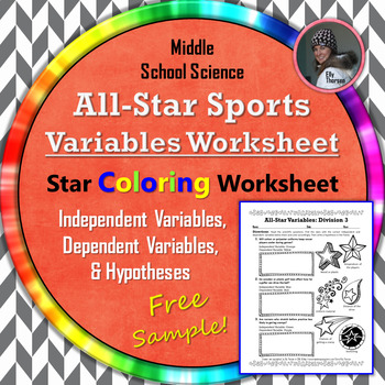 Variables & Hypotheses Practice: All-Star Coloring Worksheet FREEBIE