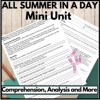 All Summer In A Day Complete Unit (Comprehension and Literary Analysis)