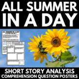All Summer in a Day by Ray Bradbury Short Story Unit - Questions and Project