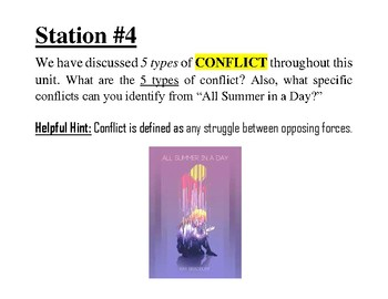 All Summer in a Day - Carousel Discussion Stations (5 Posters)