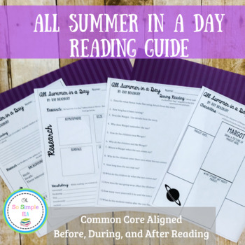 All Summer in a Day Reading Guide, Writing Activity, and Quiz