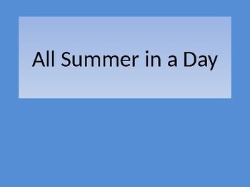 All Summer in a Day Vocabulary intro