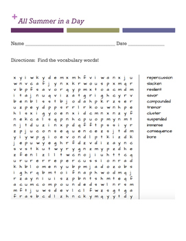 All Summer in a Day Word Search