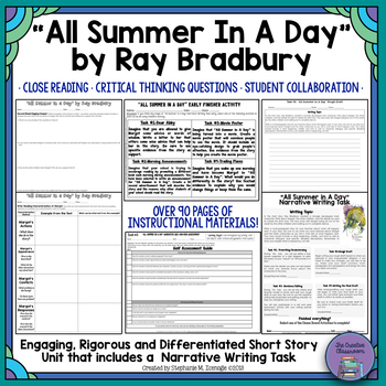"""""""All Summer in a Day"""" by Ray Bradbury-Characterization and Inferencing"""