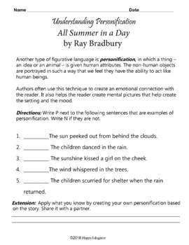 All Summer in a Day by Ray Bradbury Figurative Language Chart