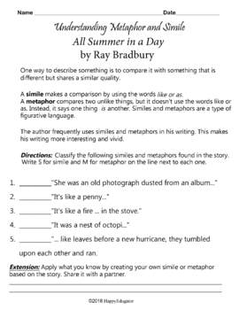 image regarding All Summer in a Day Worksheet named All Summer season inside of a Working day via Ray Bradbury Figurative Language Worksheets and Chart