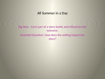 All Summer in a Day by Ray Bradbury - PPT