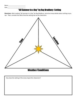 """""""All Summer in a Day"""" by Ray Bradbury Reading Strategies Handouts"""