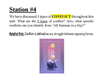 All Summer in a Day by Ray Bradbury - Story Recap/Skill Discussion Stations