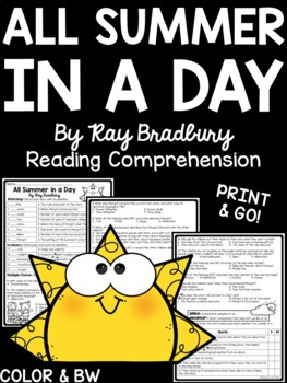 All Summer in a Day comprehension questions science fiction Ray Bradbury