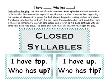 All Syllable Types: I Have, Who Has? games for Small Group Instruction