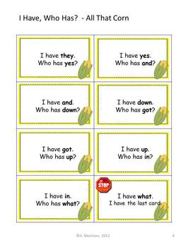"""All That Corn """"I HAVE, WHO HAS?"""" Sight Word Practice for Harcourt Trophies"""
