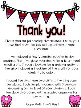 All The Heart Eyes: A Valentine's Day Writing Craftivity