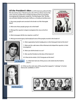 All The Presidents Men - Movie questions, terms, explanations and key