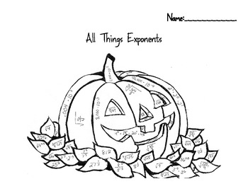 All Things Exponents Color by Number Halloween/Fall Pumpkin