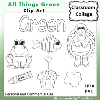 Green Things Clip Art  Line Drawing B/W  personal & commercial use