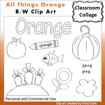 Orange Things Clip Art Line Drawing B/W  personal & commer