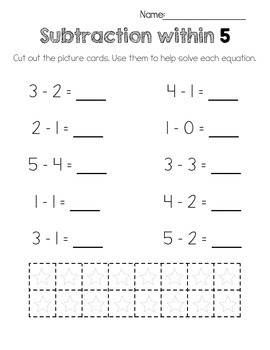 All Things Subtraction! Printable Worksheets for K, 1st, 2nd