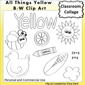Yellow Things Clip Art  Line Drawings B/W  personal & commercial use