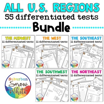 United States Tests Bundle for States, Capitals, Abbreviations, Differentiated