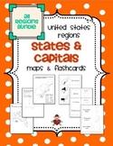 All US Regions States & Capitals Maps