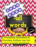 All Word Family Spelling and Word Work Printables