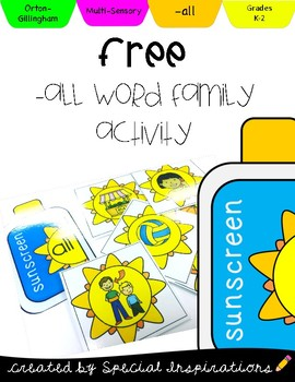 All Word Family Suns & Sunscreen Sort and Exit Ticket