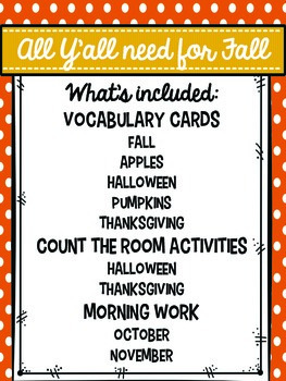 All Y'all Need for Fall: Vocabulary Cards, Count the Room and Morning Work