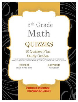 All Year:  5th Grade Math Quizzes and Study Guides (Multi-TEKS)