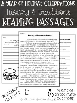 All Year Celebrations/Holiday Reading Passages Bundle