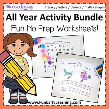 All Year Complete Worksheet Bundle - No Prep - Letters, Nu