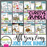 All Year Long Themed CURSIVE Practice Joke Book Bundle