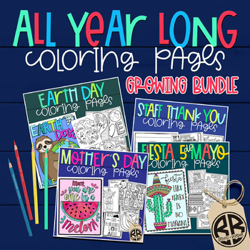 Coloring Pages for ALL HOLIDAYS Endless Growing Bundle