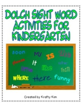 All Year Long Dolch Sight Word Activities for Kindergarten
