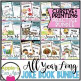 All Year Long PRINTING and CURSIVE practice Joke Book Bundle