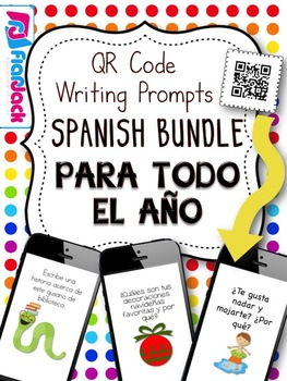 All Year Long SPANISH QR Code Writing Prompts Bundle