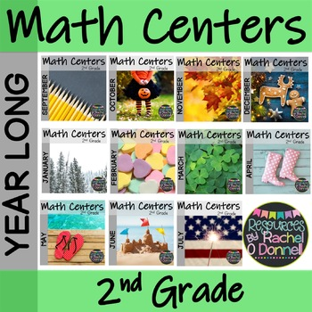 Year Long Math Centers Second Grade Bundle