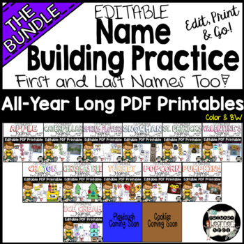 All-Year Long; Seasonal Name Building Practice Literacy Center,Easy Editable PDF