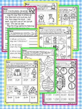 All Year Math and Literacy Printable NO PREP Preview FREEBIE First Grade