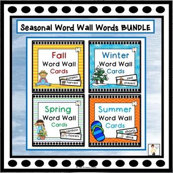 All Year Seasonal Vocabulary Word Wall Cards