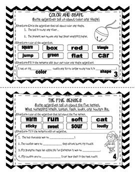 All aboard the Adjective Express Mini- Book  ( Polar Express themed)