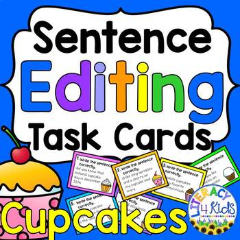 All about Cupcakes Sentence Editing Task Cards for Third Graders