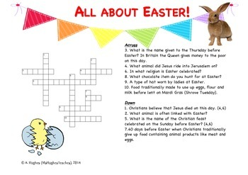 All about Easter Crossword