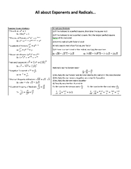 All about Exponents and Radicals... Notes