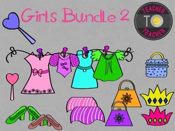 All about Me: Girls Pack 2 {TeacherToTeacher Clipart}