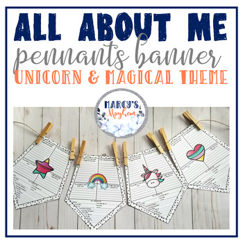Unicorn: Back to School :All about Me Pennants