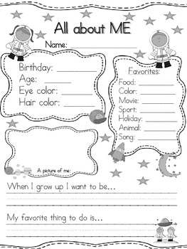 All about Me Space Theme Back to School
