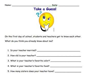 All about Me Student and Teacher Inventory
