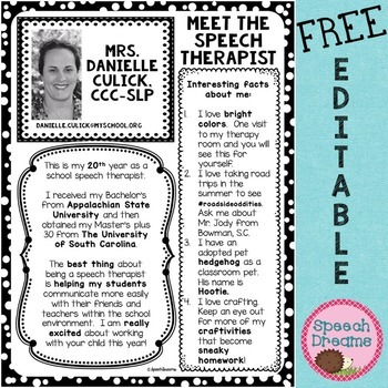 All about Me the SLP FREE EDITABLE letter for parents