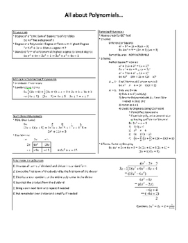 All about Polynomials... Notes